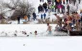 Epiphany day cold water jump — Stock Photo