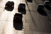 Calle silueta de Traffic jam autos — Foto de Stock