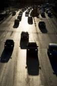 Traffic jam cars street silhouette — Foto Stock