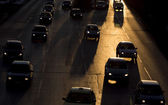 Traffic jam cars street silhouette — Stock Photo