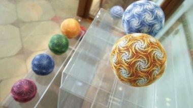 Colorful Temari balls — Stock Video