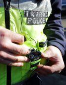 Traffic police car surveillance camera recording equipment — Stock Photo