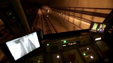Subway train operator driver driving — Stock Video