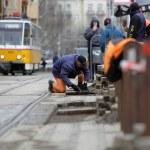 ������, ������: Tram road workers repair repairing