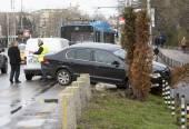 Car crash accident trolley bus — Zdjęcie stockowe