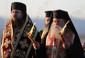Christian priests holy sacred fire — Stock Photo