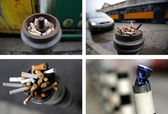 Photo collage of parking posts with trash — Stock Photo