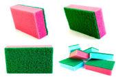 Combinação de colagem de fotos de esponjas vermelhas — Fotografia Stock