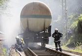 Tanker train fire firefighters — Stock Photo