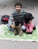 Beggar with dogs on the ground — Stock Photo