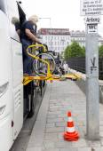 Physically disabled bus accessibility platform — Stock Photo