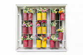 Window with frower pots — Stock Photo