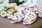 Handmade children's slippers — Stock Photo