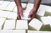 Greek white feta cheese cubes — Stock Photo