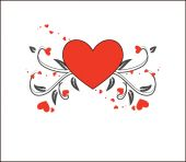 Red Floral Heart Greeting Background — Stock Vector