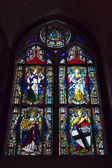 Stained-glass window in castle of the Teutonic Order in Malbork — Stock Photo