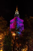 Warsaw Palace of Culture and Science at nighttime — Stock fotografie