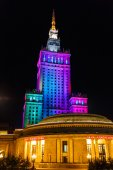 Warsaw Palace of Culture and Science at nighttime — Stock Photo