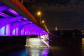 Night view of bridge in Warsaw — Stock Photo