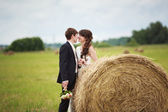 Bride and groom near hay — Stock Photo