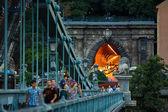 The Chain bridge with tunnel — Stock Photo