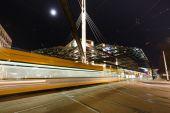 Night traffic on the Postplatz — Stock Photo