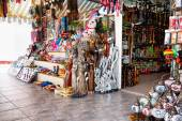 Assortment of souvenir shops — Stock Photo