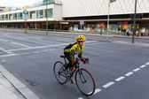 Cyclist riding bicycles on street — 图库照片
