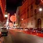Christmas red light balls on a street — Stock Photo #69197879