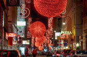 Christmas red light balls on a street — Stock Photo