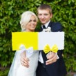 Bride and groom holding plate in your hands — Stock Photo #70705577