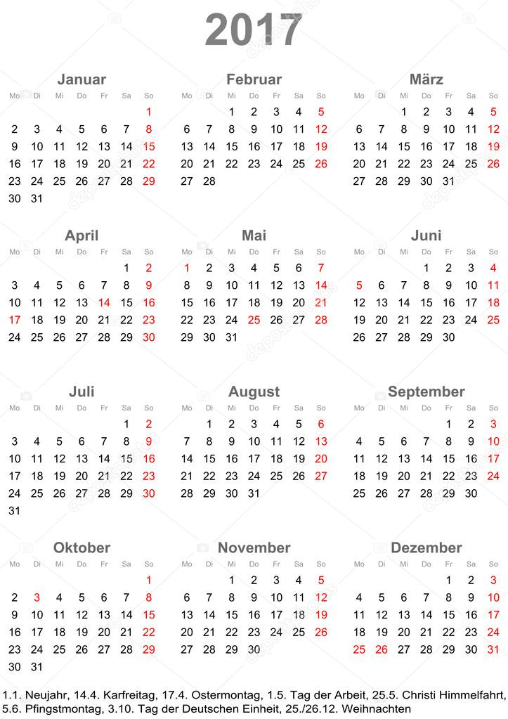 Simple calendar 2017 with public holidays for Germany — Stock ...