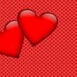 Two red hearts on a heart background — Stock Photo #56932179