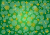 Green background stars and snow — Stock Photo