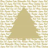 Golden christmas tree on christmas wishes — Stockvektor