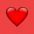 Big red heart on white dotted red background — 图库照片 #58880541