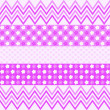 Purple zigzag pattern, flowers and small hearts — Stock Photo #58880669