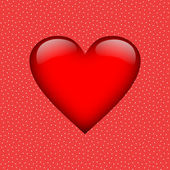 Big red heart on white dotted red background — Stock Photo