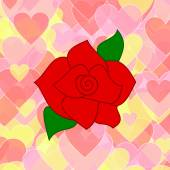 Red rose on a background of pink and yellow hearts — Stock Photo