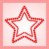 Stars made from red hearts, framed with heart border — Stock Photo