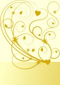 Gold flourish pattern with stars and hearts — Stock Photo