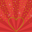 Big golden open heart on red beam pattern — Stock Photo #59883799