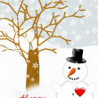 Snowman with a red heart an Valentine's greeting — Stock Photo #63399315