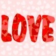 Love lettering filled with various red and pink hearts — Stock Photo #63490293