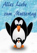 2 penguins, mother and child, with Mother's Day greetings in German — Stok fotoğraf