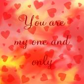 You are my one and only lettering on red and yellow — Stock Photo