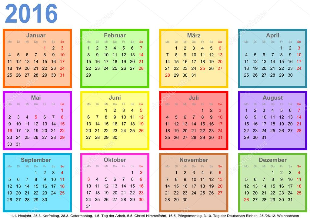 Calendar 2016 with colorful fields per month and holidays Germany ...