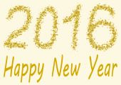Happy New Year 2016 gold spangles — Stock Photo