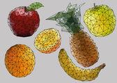 Polygon fruits — Stock Vector