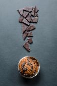 Chocolate muffin exclamation mark — Stock Photo